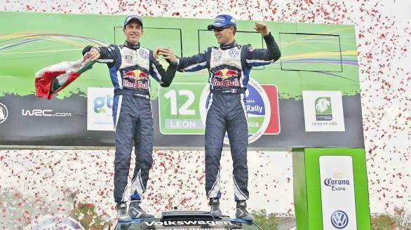Sebastien Ogier and Julien Ingrassia celebrate their Rally Mexico win