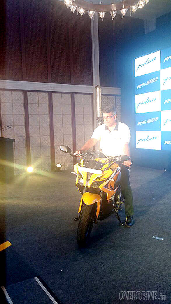 Eric Vaz, president, motorcycles business unit, Bajaj Auto with the new Pulsar RS200