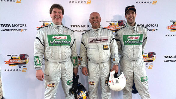 Steve Thomas clinches the pole position for the super qualifier in Tata T1 Prima Truck Racing Championship 2015