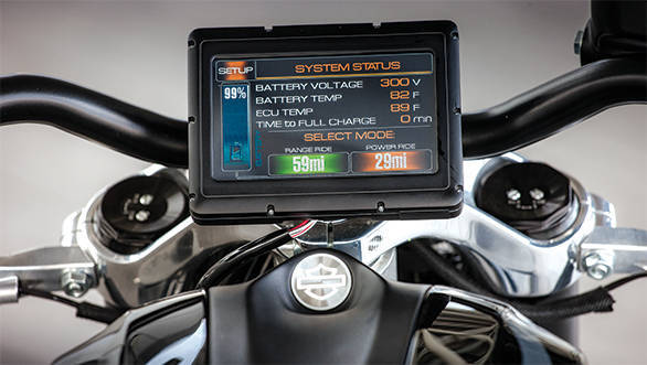 The 8-inch touchscreen displays battery status and temperatures