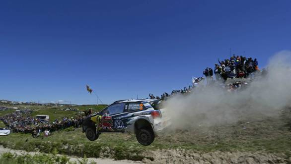 Latvala yumped his way to victory at Rally Portugal, ahead of VW team-mates Ogier and Mikkelsen