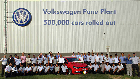 Volkswagen India Management and Employees celebrate 500,000 cars rolling...