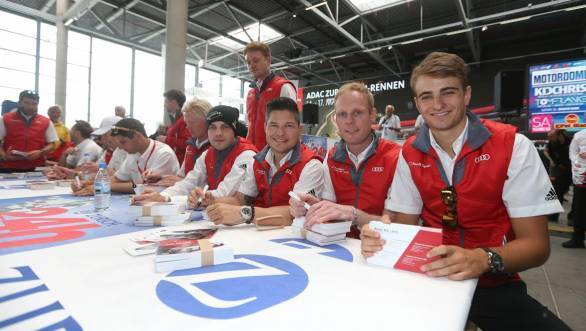 Laurens Vanthoor, Christopher Mies, Edward Sandstrm, Nico Mller, the four victorious Audi drivers are all smiles here
