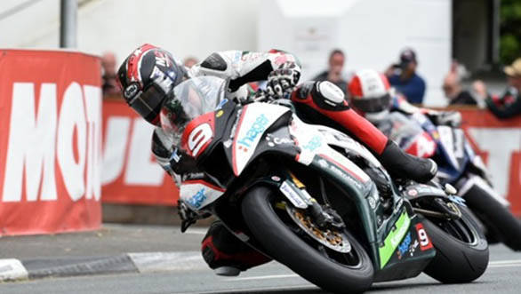 Hutchy was on a roll, also winning the Superstock TT