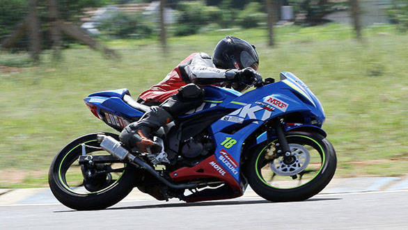 Abhishek V who took the pole position in the Suzuki Gixxer Cup Open class