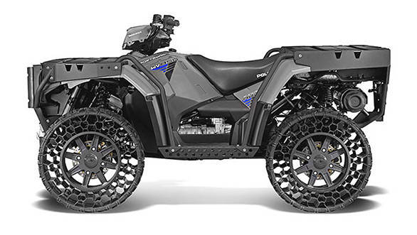 The Polaris Sportsman WV850 H.O. Terrain Armour with airless tyres