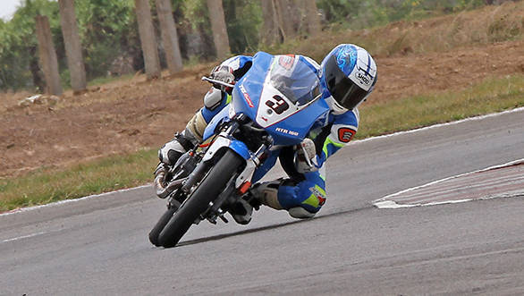 Jagan Kumar of TVS Racing powering to victory in the showpiece Group B (165cc) Open class in the second round of the MMSC FMSCI Indian National Motorcycle Racing Championship in Chennai on Saturday.
