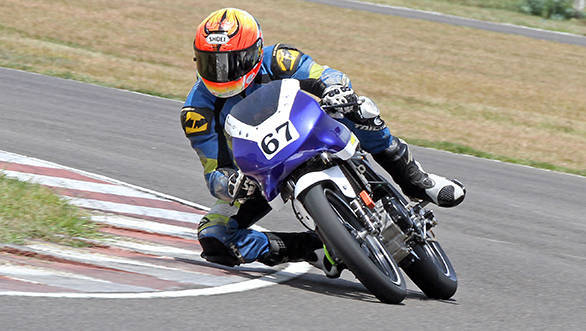Rajini Krishnan of Moto-Rev Yamaha Racing, winner of the Group B (165cc) Open class race in the MMSC FMSCI Indian National Motorcycle Racing Championship in Chennai on Sunday.