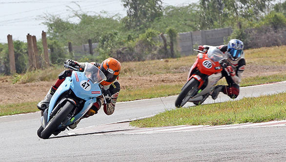 Sumit Lucas Toppo (No.47), winner of the CBR 250 (Open) race in the Honda One Make Championship in Chennai on Sunday.