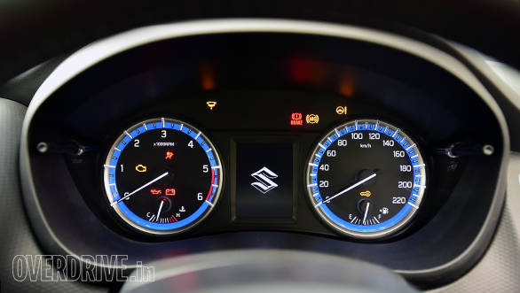 Blue backlit insrumentation is a first in a Maruti