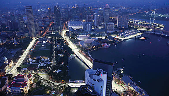 Scenic aerial view. Formula One World Championship, Rd14, Singapore Grand Prix, Marina Bay Street Circuit, Singapore, Practice, Friday 19 September 2014.