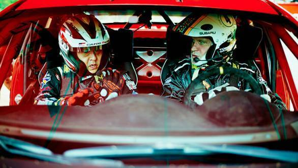 Akio Toyoda and Tommi Makinen