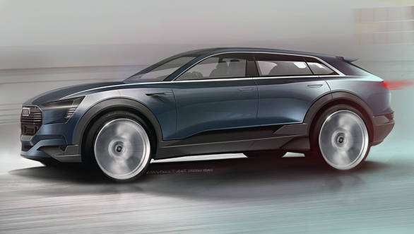 Rendering of the all-electric Audi e-tron quattro concept revealed
