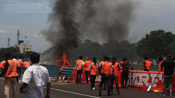 K E Kumar's car caught fire after his gearbox expoded in the third ITC race