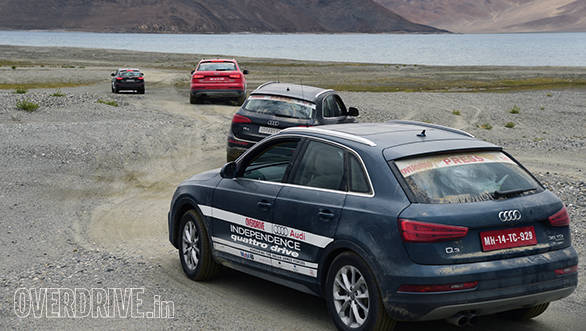 The Audis take a detour to Pangong Lake