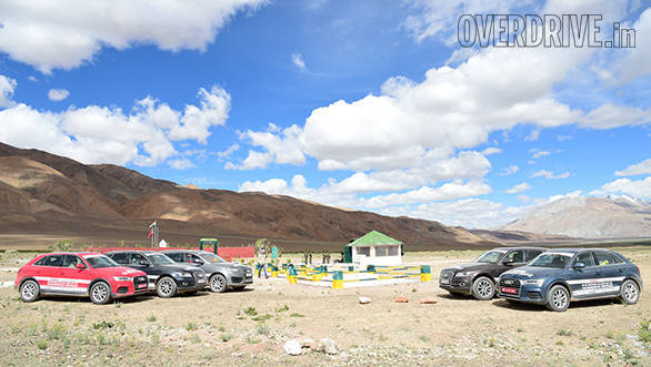 The Audi SUVs pose at the Rezangla War Memorial
