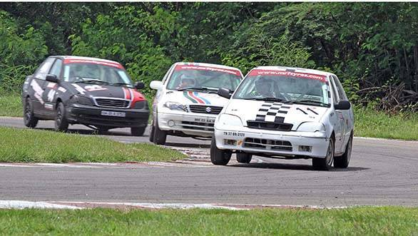 Red Rooster Racing's Sidharth Balasundaram (No.11), winner of both the races in the Indian Junior Touring Cars category besides the championship in the class in the fifth and final round of the MMSC-Fmsci Indian National Racing Championship in Chennai on Sunday