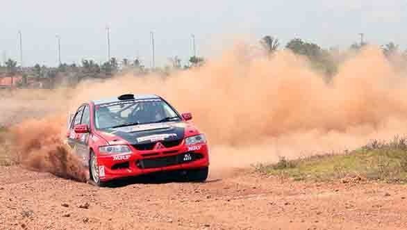 Lohitt Urs and Srikanth Gowda in their Mitsubishi Evo VIII