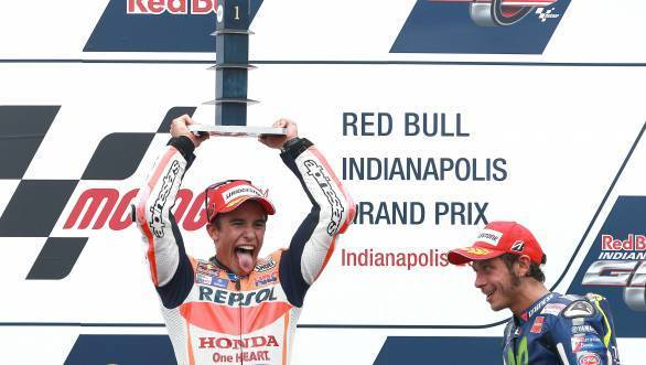 Certainly seems pleased with himself, does young Marc Marquez, having won the 2015 IndyGP