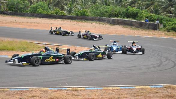 Sandeep Kumar (No 7) being chased by Vishnu Prasad (No 8) while Constantino Peroni and Akhil Rabindra fight for third