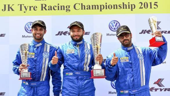 Vento Cup Round 1 Race 2 Winner Karminder Singh (centre), 2nd position Anindith Reddy (left) and 3rd position Sahil Gahuri (right)