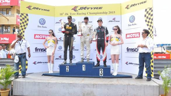 Winners of Race 3 of the JK FB02 series. 1. Akhil Rabindra, 2. Vishnu Prasad, 3. Constantino Peroni