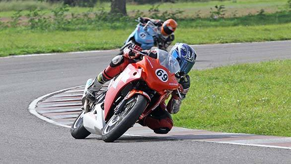 International rider Sarath Kumar (No.69) powering his way to victory in the Honda CBR 250 race in the One-Make Championship in Chennai on Saturday