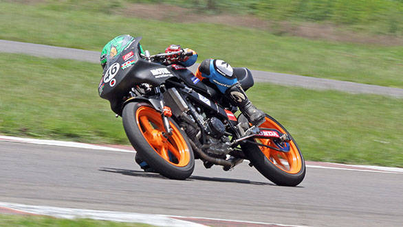 Mathana Kumar of Ten10 Racing who achieved a double in the Group C (165cc) Open category in the third round of the MMSC FMSCI Indian National Motorcycle Racing Championship in Chennai on Sunday.