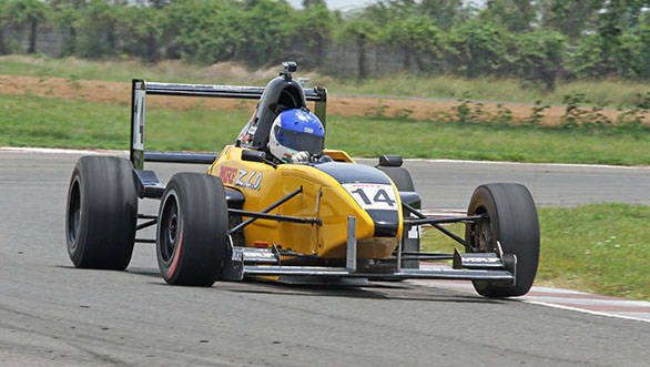 Arjun Narendran , winner of the second race in the MRF F1600 class in the fourth round of the MMSC-FMSCI Indian National Racing Championship in Chennai on Sunday