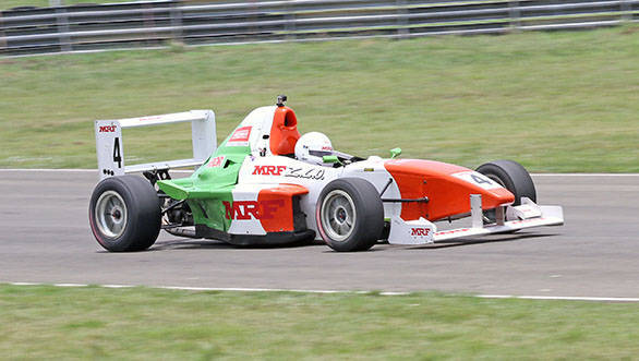 Goutham Parekh, winner of the first race in the MRF F1600 class in the fourth round of the MMSC-FMSCI Indian National Racing Championship in Chennai
