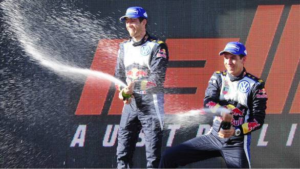 Ogier and Ingrassia celebrate their win in Australia as well as the 2015 WRC title