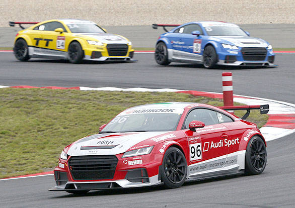 Aditya Patel (96) in the Audi Sport TT Cup race