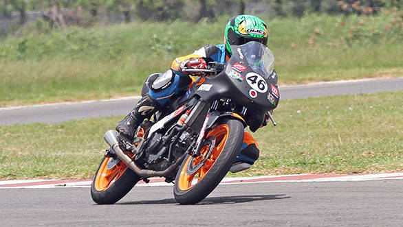 Mathana Kumar of Ten10 Racing, who won both the races in the Group C (165cc) Open class in the fourth round of the MMSC Indian National Morocycle Racing Championship in Chennai on Sunday