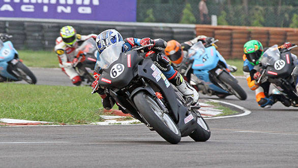 Sarath Kumar (No.69) of Ten10 Racing who won the Honda CBR 250 race in the Honda MMSC One Make Championship on Saturday in Chennai