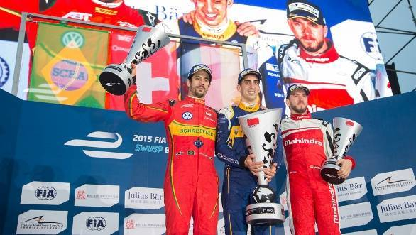 Di Grassi, Buemi and Heidfeld on the podium
