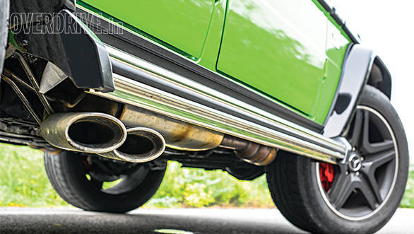 The side mounted AMG performance exhausts convert the combustion racket into sublime V8 music
