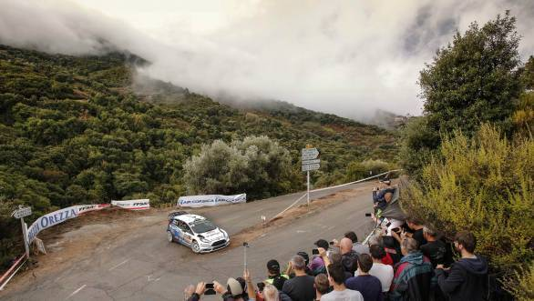Elfyn Evans on his way to a second-place finish at Corsica