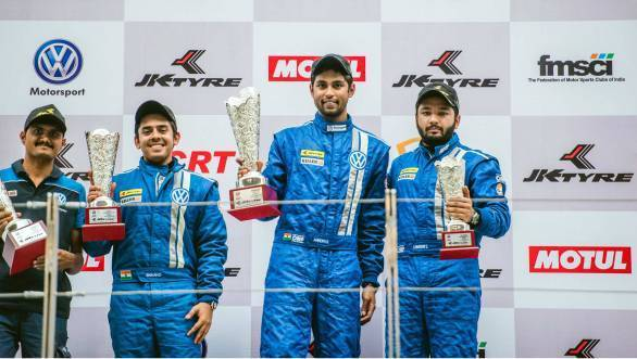 Left to right: Ishan Dodhiwala finished second, Anindith Reddy took the win, and Karminder Singh finished third on track, but was later demoted to fourth due after post race penalties were doled out for the third race of the weekend