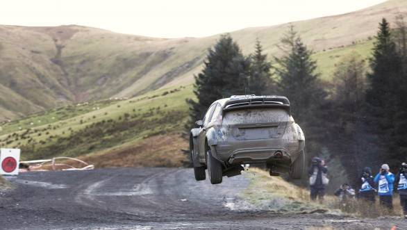 Ott Tanak airborne during the 2015 Wales Rally GB