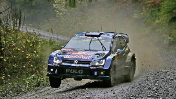 Sebastien Ogier on his way to victory at the season-ending Wales Rally GB