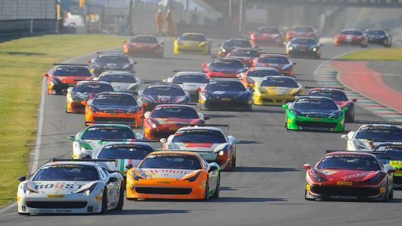 Gautam Singhania in his Ferrari 458 Challenge that's painted in the Indian tricolour, during the race start at Mugello