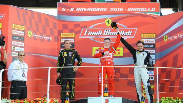 Gautam Singhania on the top step of the podium for Race 1 of the Ferrari Challenge round at Mugello