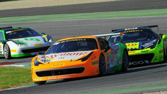 Singhania leads the pack in the tricoloured Ferrari 458 Challenge