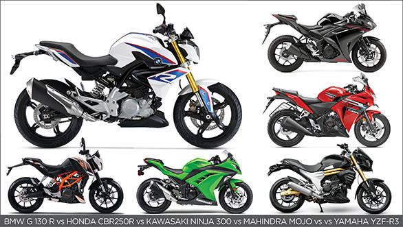 Spec Comparo: BMW G 310 R vs Yamaha YZF-R3 vs KTM 390 Duke vs Kawasaki Ninja 300 vs Honda CBR 250R and Mahindra Mojo