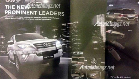 India-bound 2016 Toyota Fortuner brochure leaked online