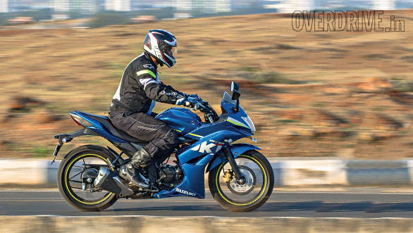 Rishabh looks racy here but the Gixxer can seat you quite upright although the pegs are a little rear set