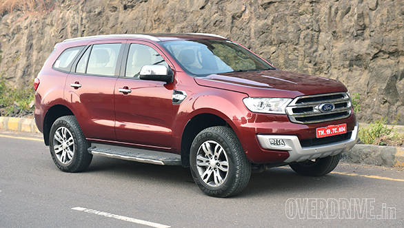 The India-spec 2016 Ford Endeavour comes with smaller 18-inch wheels while the international spec is offered with 21-inch wheels