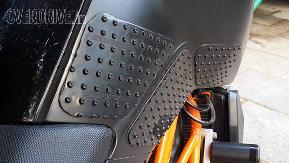 Stomp Grips help you hold the bike with your thighs better, which improves control