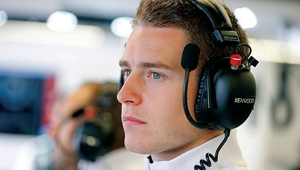 Stoffel Vandoorne in the garage.