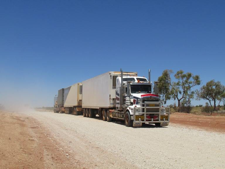 One of the famous Australian 'Road Trains' that carry supplies across the massive continent